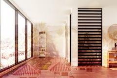 Salle de bains blanche et noire de luxe, douche modifiée la tonalité Photo stock