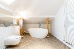 Salle de bains blanche de grenier avec la baignoire photo libre de droits