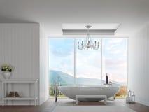 Salle de bains blanche moderne avec l'image de rendu du Mountain View 3d Image stock