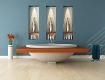 Salle de bains bleue Photographie stock