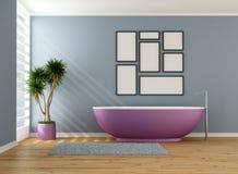 Salle de bains bleue avec la baignoire pourpre illustration stock