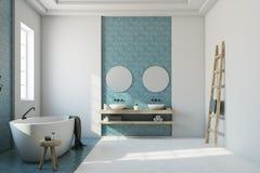 Salle de bains bleue et blanche, baquet blanc, évier illustration de vecteur
