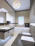 Salle de bains chère lumineuse avec les lampes au néon Image stock