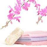 Salle de bains colorée réglée avec du savon normal Photographie stock libre de droits
