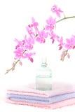 Salle de bains colorée réglée avec la bouteille de parfum Images libres de droits