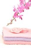 Salle de bains colorée réglée avec les essuie-main et l'orchidée Images libres de droits