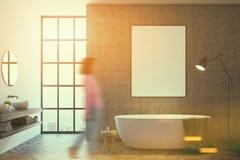 Salle de bains concrète, affiche modifiée la tonalité Photos libres de droits