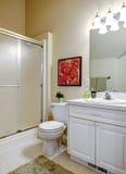 Salle de bains confortable avec la vanité blanche Photographie stock libre de droits
