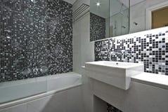 Salle de bains contemporaine d'en-suite en noir et blanc Photo libre de droits
