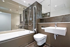 Salle de bains contemporaine de famille dans le brun Image stock