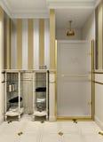 Salle de bains d'or Photographie stock libre de droits