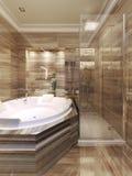 Salle de bains d'art déco avec la douche Images libres de droits