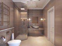 Salle de bains dans le style néoclassique photographie stock