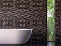 Salle de bains de luxe moderne avec l'image de rendu de la vue 3d de nature Photo libre de droits