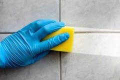 Salle de bains de nettoyage d'éponge Image stock