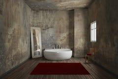 Salle de bains de vintage avec le tapis Image libre de droits