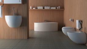 Salle de bains en bois Photos stock