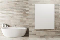 Salle de bains en bois blanche, affiche, baquet illustration stock