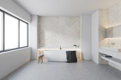 Salle de bains en bois blanche, baquet rond illustration libre de droits