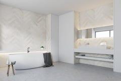 Salle de bains en bois blanche, côté rond de baquet illustration de vecteur