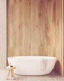 Salle de bains en bois ensoleillée de murs illustration de vecteur