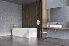 Salle de bains en bois grise et foncée, côté de baquet illustration stock