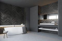 Salle de bains en bois noire, côté rond de baquet illustration libre de droits