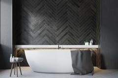 Salle de bains en bois noire, fin ronde de baquet  illustration de vecteur