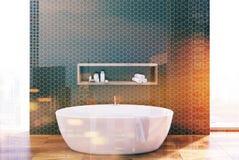 Salle de bains hexagonale noire, baquet rond modifié la tonalité Photo stock