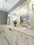 Salle de bains lumineuse de style d'art déco Images stock