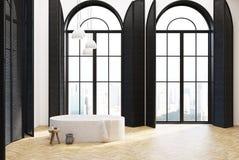 Salle de bains de luxe intérieure, fenêtres noires illustration libre de droits