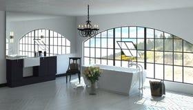 Salle de bains luxueuse avec la fenêtre de pivotement proche de baquet Photographie stock
