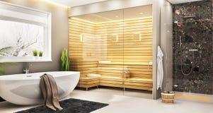 Salle de bains luxueuse avec le sauna dans une maison moderne photographie stock libre de droits