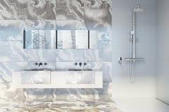 Salle de bains de marbre, fin de double évier  Photo libre de droits