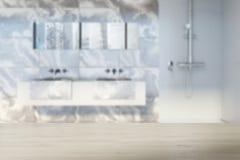 Salle de bains de marbre, tache floue haute de fin de double évier Photo libre de droits