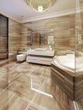 Salle de bains moderne avec l'accès au sauna Images stock