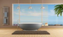 Salle de bains moderne avec la baignoire bleue illustration stock