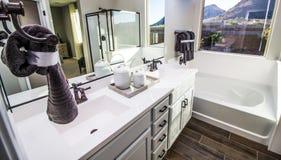 Salle de bains moderne avec le baquet, la douche et la vanité photos libres de droits