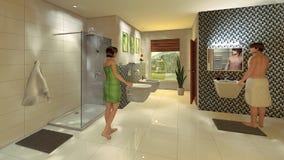 Salle de bains moderne avec le mur de mosaïque Images libres de droits