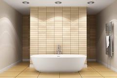 Salle de bains moderne avec les tuiles beiges sur le mur Images stock