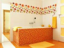 Salle de bains moderne dans la couleur orange Photo stock