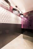 Salle de bains peu commune avec le lustre d'une blancheur de lis images libres de droits