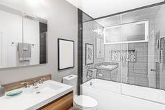 Salle de bains de photo à l'illustration de dessin photos stock