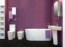 Salle de bains pourprée Photo stock