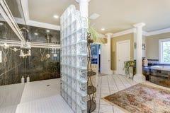 Salle de bains principale élégante avec les colonnes blanches photographie stock libre de droits