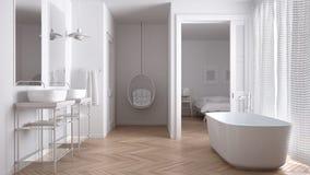 Salle de bains scandinave blanche minimaliste avec la chambre à coucher photographie stock