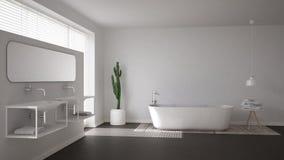 Salle de bains scandinave, conception intérieure minimalistic blanche photo stock