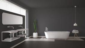 Salle de bains scandinave, conception intérieure minimalistic grise images stock