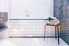 Salle de bains de tuile d'hexagone, étroit de baquet modifié la tonalité Images stock