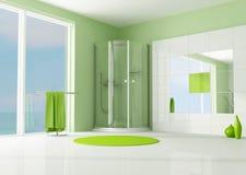 Salle de bains verte avec la douche de cabine illustration libre de droits